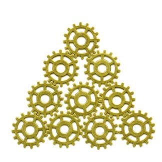Steampunk Zahnrad-Set 2 sind aus Metall in der Farbe Bronze gefertigt.