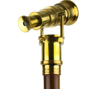 Steampunk Gehstock Bennet mit Messing-Teleskop