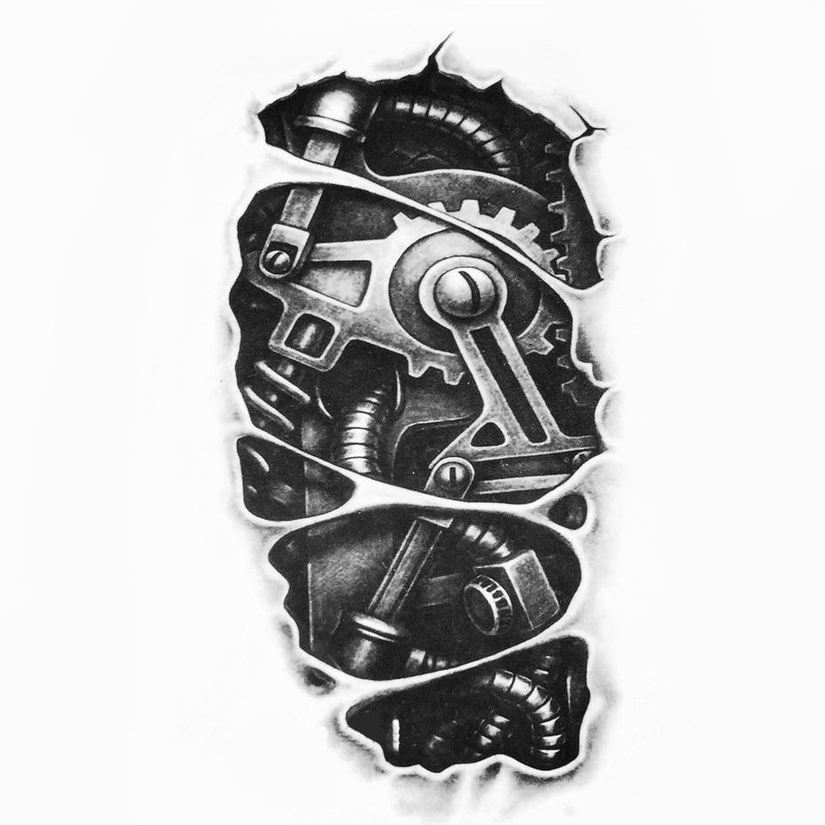 Steampunk Tattoo Mechanischer Arm 2 Grösse 19 Cm X 11 Cm