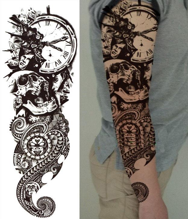 Steampunk Tattoo Shattered Time Schwarz Weiss Grösse 48 Cm X 17 Cm