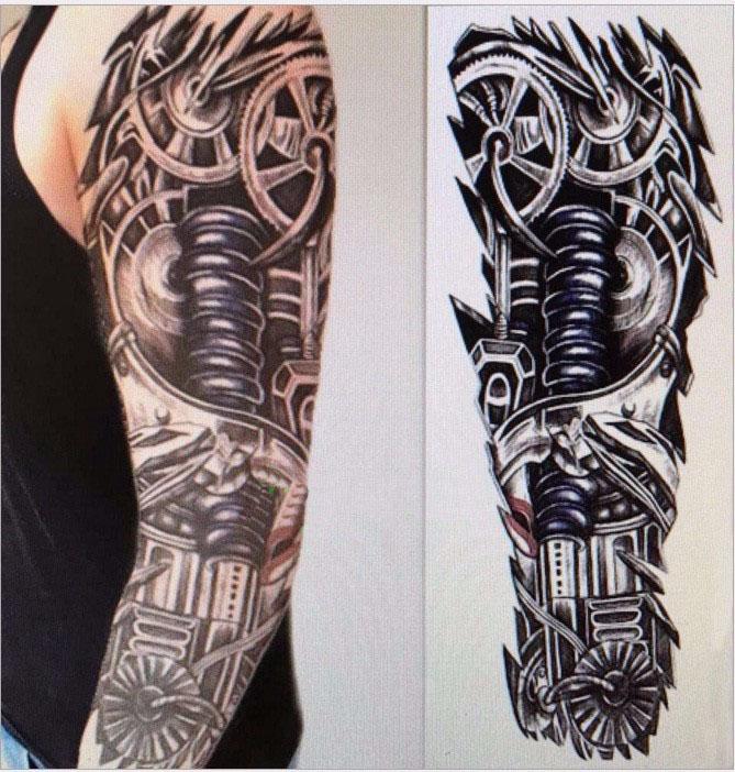 Steampunk Tattoo Gear Arm Schwarz Weiss Grösse 48 Cm X 17 Cm