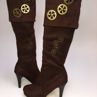 Steampunk Stiefel Annett sind wirklich toll unter jedem Steampunk Outfit! Das Material ist braunes Kunstleder.