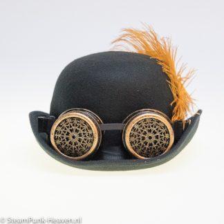 Steampunkhut Finn ist eine schwarze Melone aus 100% Polyester.
