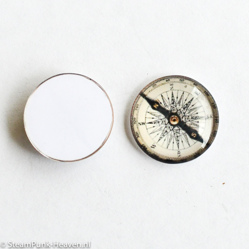 Steampunk Hartglas Cabochon Kompass