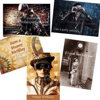 Steampunk Glückwunschkarten-Set Griffin