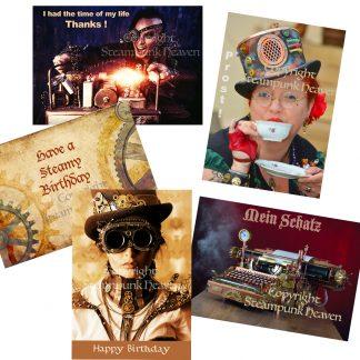 Steampunk Glückwunschkarten-Set Mortimer