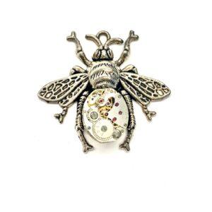 Steampunk Kettenanhänger Uhrwerk-Biene silber